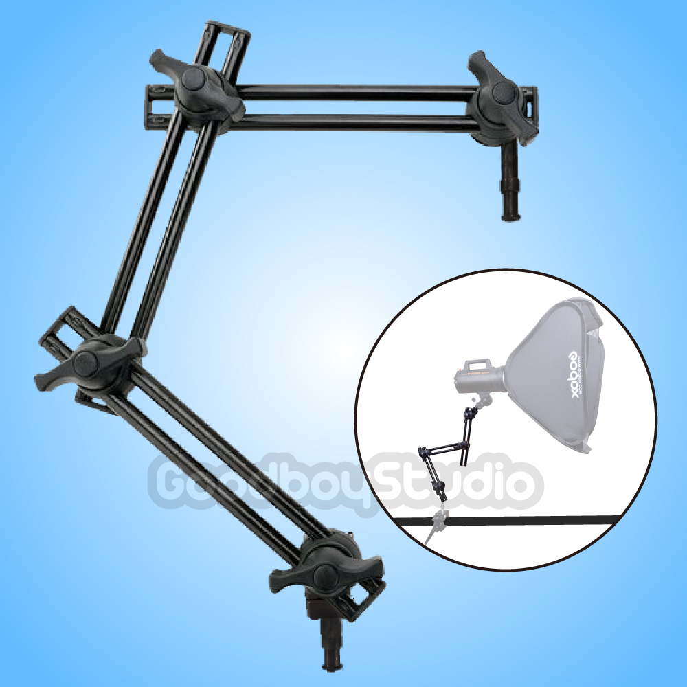 Photo Studio 3 Section Double Adjustable Holder Articulated Arm Boom Sliding Extension System Light Stand Accessorires