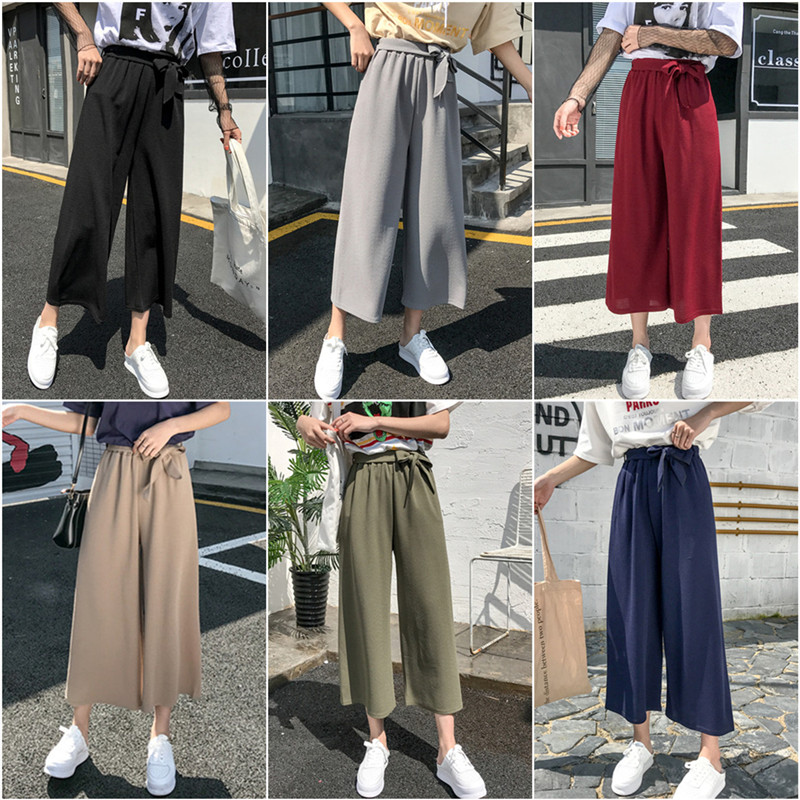 Summer Wide Leg   Pants   Womens Loose High Waist   Pants   OL Formal Trousers Solid Office Lady Loose Stretch   Pants     Capris
