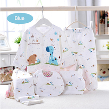 (5pcs/set)Newborn Baby Set 0-3 M Clothing Brand Boy/Girl Clothes 100% Cotton Cartoon Underwear With Bib Hat