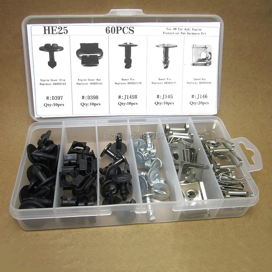 60pcs For Audi A4 For VW Passat Clips Nut Pin Engine Protection Pan Hardware Kit