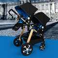 Twins Double  Baby Stroller  Two High Landscape Seat Buggy Data Cart  Detachable Carriage Light Before and After Folding Pram