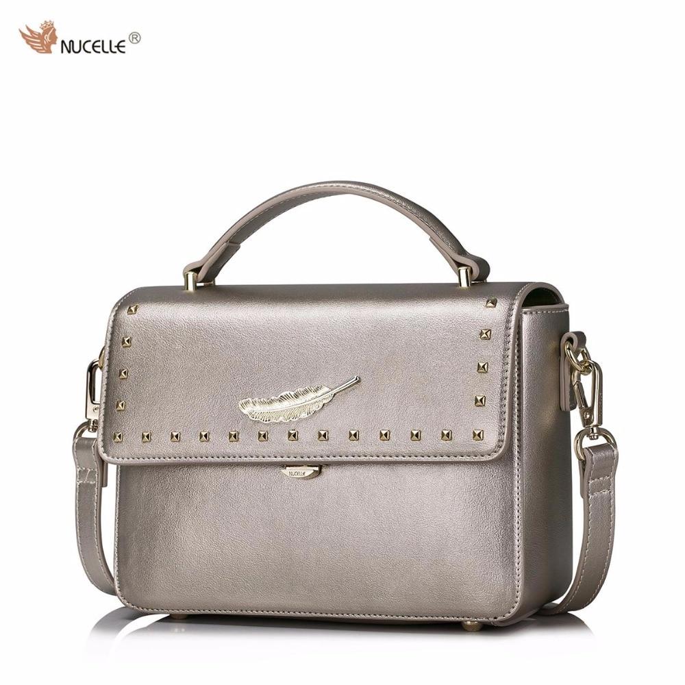 2017 New NUCELLE Brand Design Fashion Rivets Gold Leaf High Quality PU Leather Women Ladies Girls Handbag Shoulder Crossbody Bag