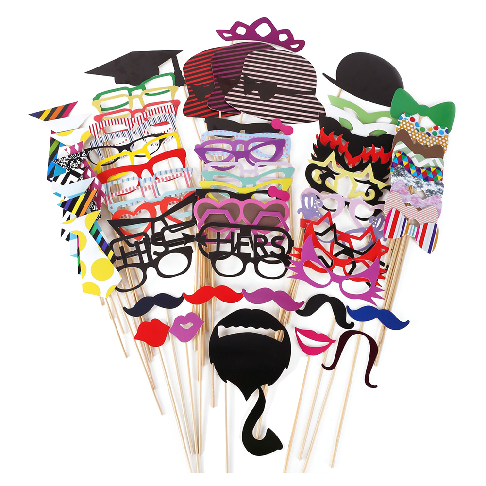 76pcs/set Photo Booth Props Wedding Birthday Party Decoration Card Props Paper Beard Red Lip Hat Glasses Party Supplies