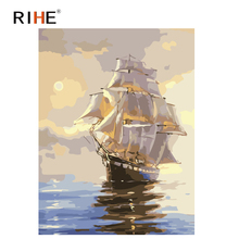RIHE Twilight Boat Diy Painting By Number Abstract Ocean Oil On Canvas Cuadros Decoracion Acrylic Wall Picture For Room