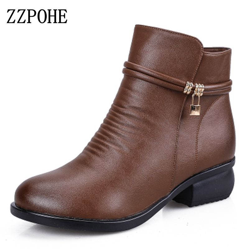 ZZPOHE 2017 New Winter Shoes Women Genuine Leather Snow Boots Women's Comfortable Warm Ankle Boots Ladies Boots free shipping