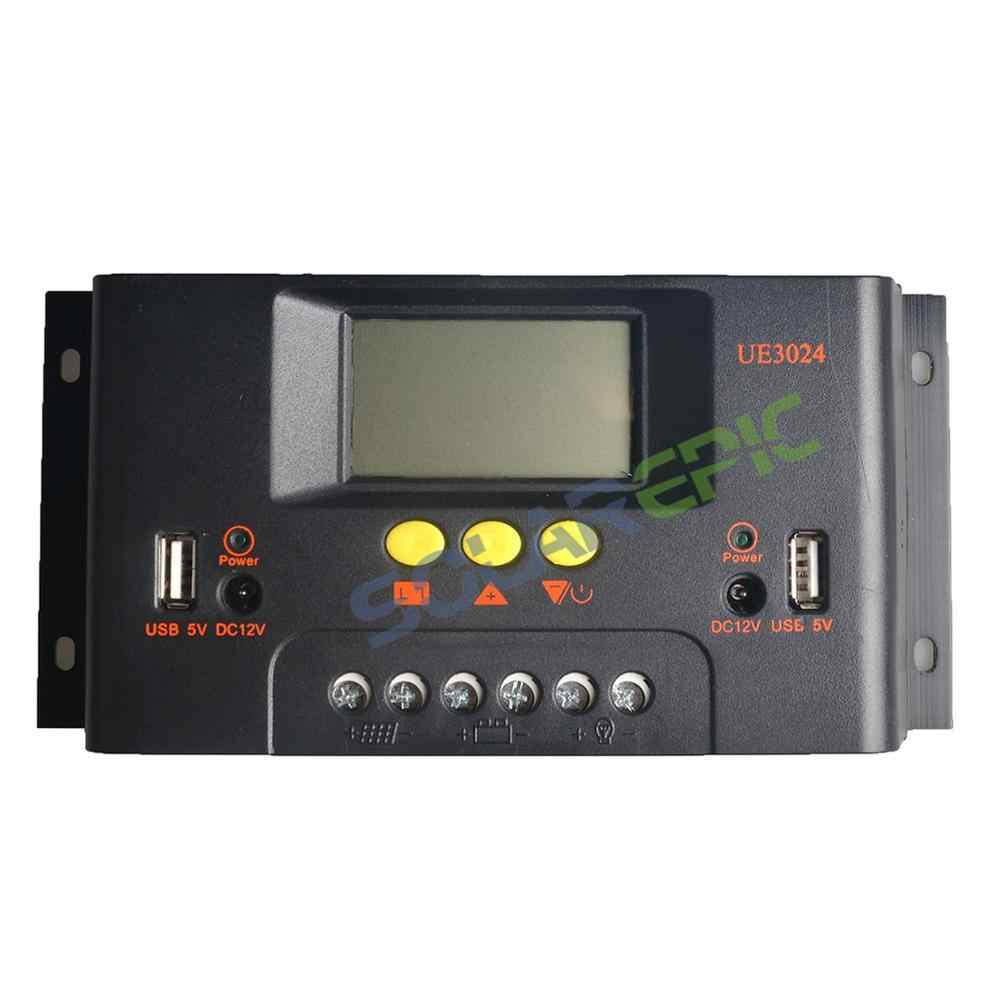 30A PWM Solar Charge Controller 12V/24V or 48V Charger USB Output Battery Regulator Solar Panel Controller CE