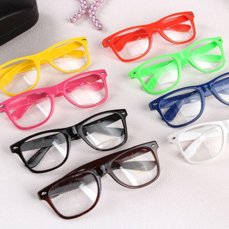 Mayitr 1pc Fashion Nerd Clear Glasses Clear Lens Geek Glasses Plain Mirror Full Frame Eyeglasses Eyewear 16 Colors