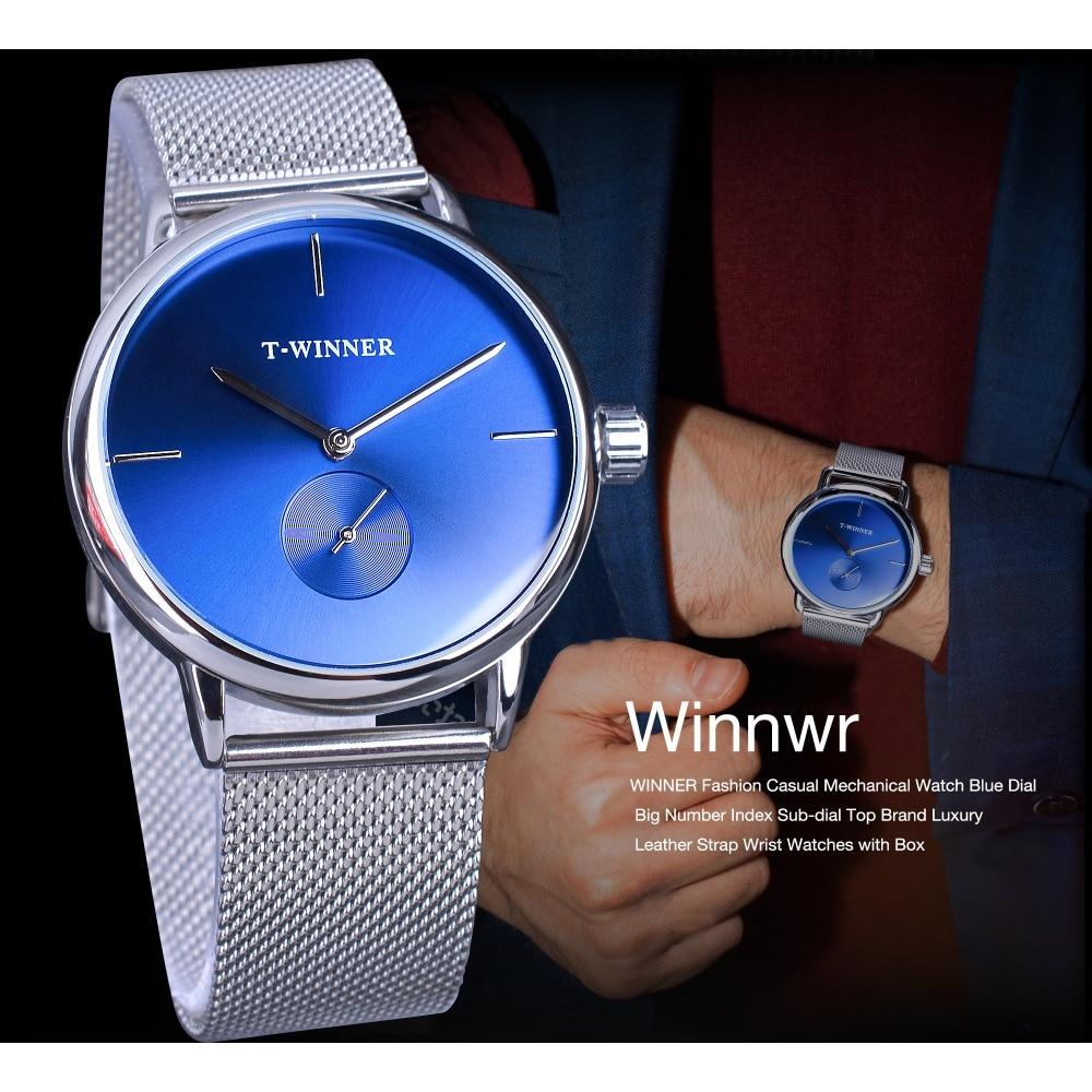 Winner 2019 Fashion Blue Display Silver Mesh Belt Transparent Dial Men's Mechanical Wristwatches Top Brand Luxury Waterproof 3