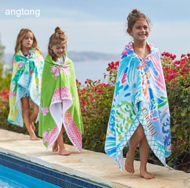 76 127cm export Europe and American PBK bath towel cartoon print children towels with cap beach
