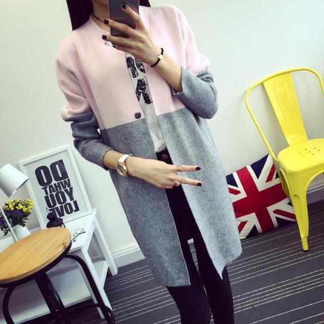 Nueva 2016 Otoño Moda femenina de Corea chaqueta de las mujeres capa del suéter de color femenino suéter largo de la rebeca
