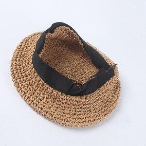 Image 4 - USPOP moda berretti regolabile di paglia berretto delle donne cappello di paglia femminile di colore solido traspirante estate cappelli