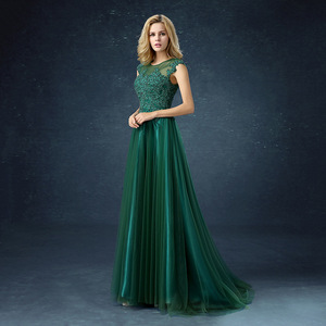 Image 2 - QQC292#Green long  bridesmaid dresses with short trailing tails wedding party dress 2019 gown prom Programme sponsor fashion