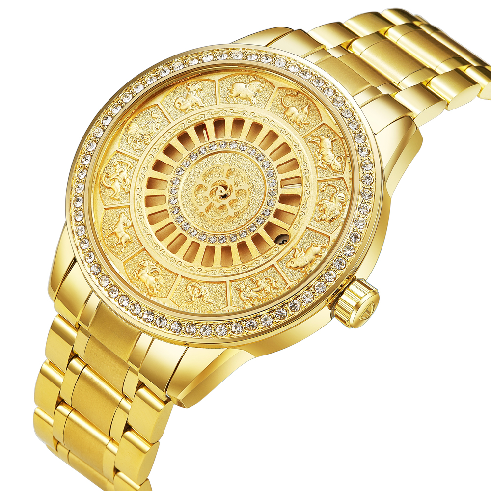 Fashion Tevise Top Brand Zodiac Signs Men Watch Automatic Mechanical Wristwatches Limited Edition Gold Male Clock Saat Erkekler