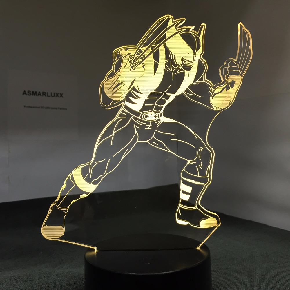 Wolverine X-Men 3D Night Light Acrylic Plate 7 Colors Changing LED Desk Illusion Table Lamp For Kids Birthday Party Decor Gifts novelty 3d full moon lamp led night light usb rechargeable color changing desk table light home decor 8 10 12 15 18 20cm