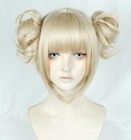 New Version Linen Blonde My Boku no Hero Academia Akademia Himiko Toga Wigs Clip Buns Heat Resistant Cosplay Wig + Wig Cap