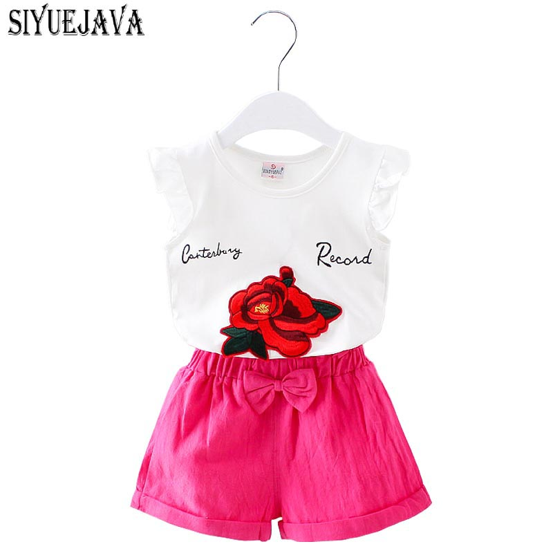 2018 Summer Baby Girl floral printed outfits clothes infantis bebes lace vest +tutu skirt dress party wedding clothing sets