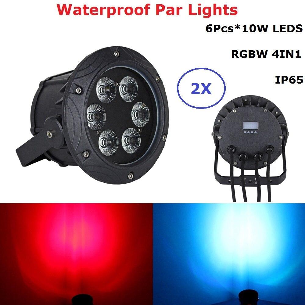 2XLot Waterproof Par Lights 6X10W RGBW 4IN1 Outdoor Par Cans DMX Wash Lights IP65 Mini Size Good For Party Wedding Disco