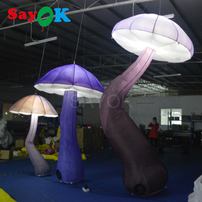 LED Inflatable Mushroom Decorations with White Light for Event Party Stage Decorations