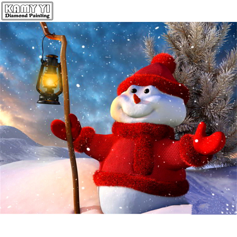 5D DIY Diamond embroidery Cross stitch Christmas snowman Full Square/Round Diamond mosaic Diamond painting decoration HYY