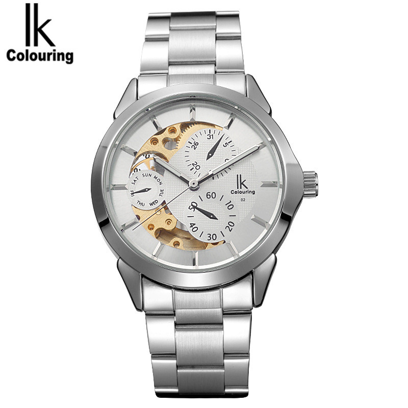 2017 IK Fashion Orologio Uomo Men's Skeleton Dial Hardlex Auto Mechanical Wristwatch with Gift Orignial Box Free Ship original mg orkina orologio uomo luxury day flywheel automatic mechanical watch wristwatch gift box free ship