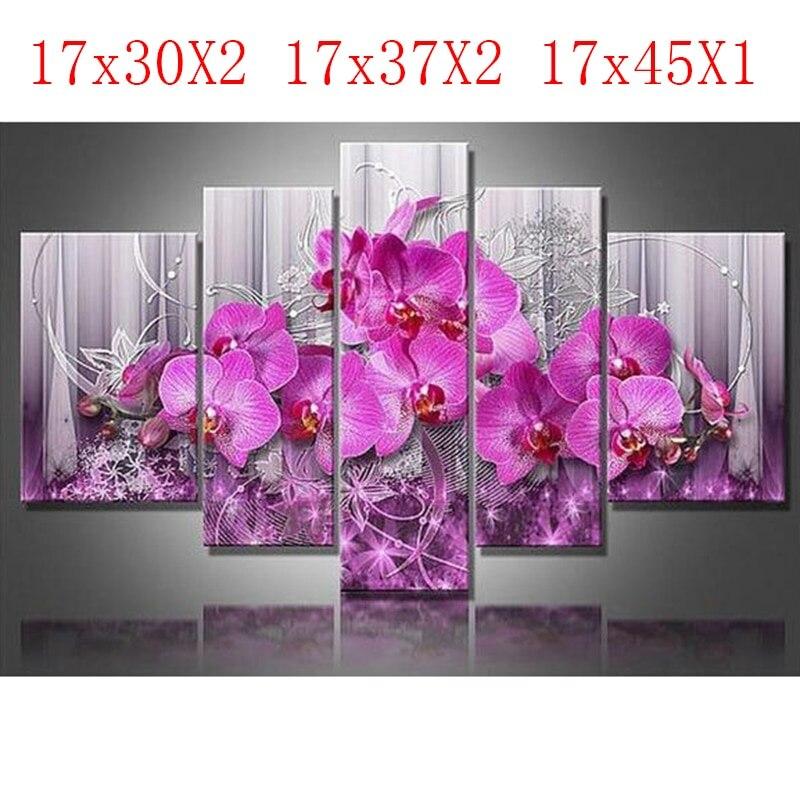 5PCS diamond embroidery butterfly flower diamond painting Cross Stitch full Square drill Rhinestone gift Wedding decoration