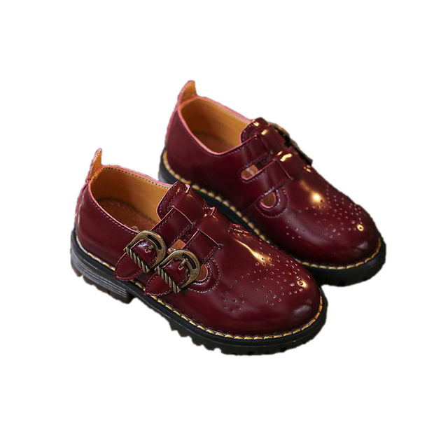 retro causal kids leather shoes solid European style PU leather shoes for 7-12yrs children boys girls party dance leather shoes