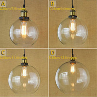 D20/D25/ D30/ D35cm Big Clear Globe Ball Glass Lampshade Retro Vintage dining room industry luminaria art hanging lights fixture