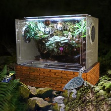Vivarium Paludarium Aquarium Turtle Tank with Background UVA Light Basking Platform Rainforest Kit with Brick Pattern Base