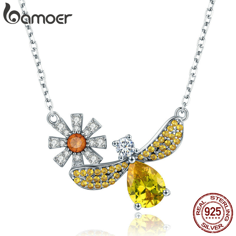 BAMOER Trendy 100% 925 Sterling Silver Fashion Daisy with Bee Yellow CZ Pendant Necklaces Women Sterling Silver Jewelry SCN242