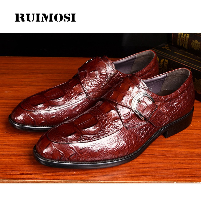 RUIMOSI Vintage Alligator Round Toe Man Formal Dress Monk Shoes Luxury Brand Genuine Leather Men's Bridal Footwear In Flats MG09