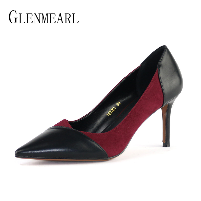 Fashion Women Pumps High Heels Shoes Soft Leather Color Mixed Thin Heel Office Lady Work Shoes Spring Brand Pointed Toe Pumps DO brand women pumps high heels shoes leather spring wave point single women dress shoes thin heels pointed toe party pumps lady de