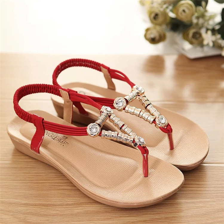 2017 new Sandals summer Bohemia beaded sandal shoes women's shoes wholesale flats red black beige
