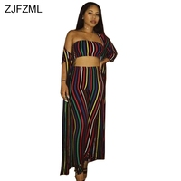 ZJFZML Rainbow Faixa Vertical Sexy 3 Peça Set Mulheres Strapless Topo Colheita Sem Encosto Império Bainha Lápis Calça Casual Longo Cardigan