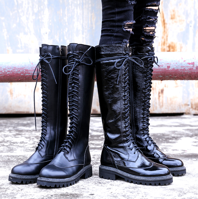 European Stylish Women Boots Low Heel Women Shoes Leather Knee High Boots Winter Long Booties Front Lace Up Side Zipper Shoes autumn emoji pattern decor women boots front lace up women shoes low heel new arrival women short booties roman stylish shoes