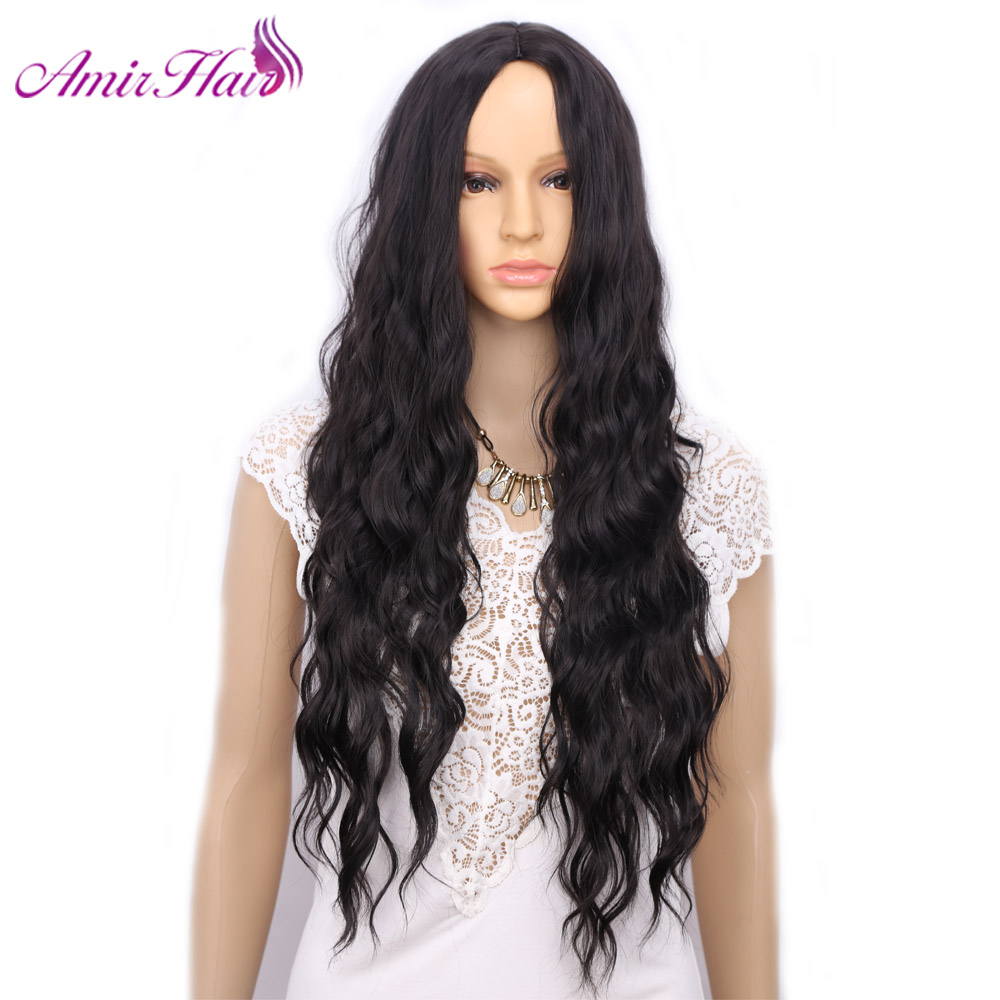 Амир Природных Свободные глубокие мягкие длинные чёрный; коричневый рыжий парик Синтетические волосы термостойкие Волокно Искусственные ...
