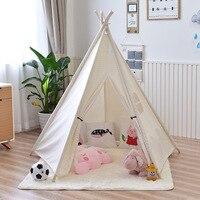 子供のテント5木製極インドプレイteepees子供ティピー綿キャンバステント小屋白ままごと用ベビールー