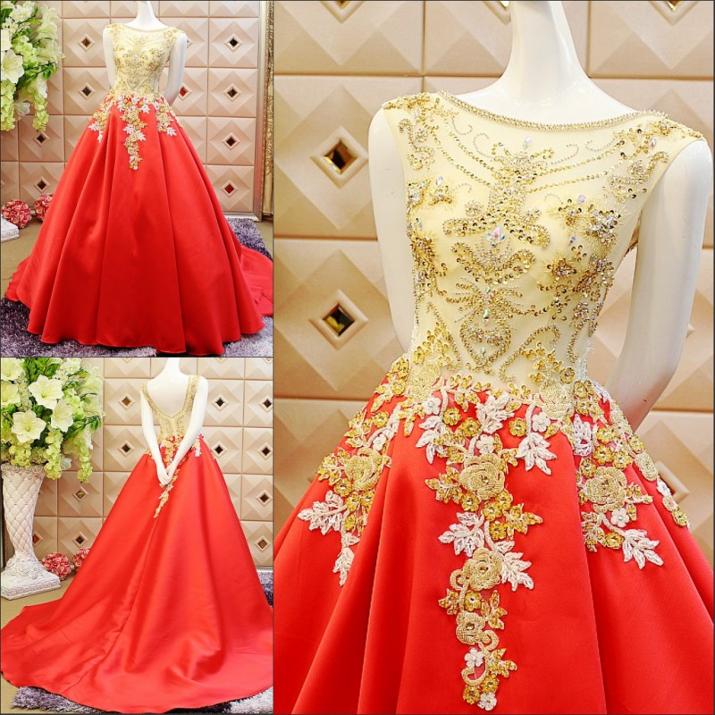 Elegant Real 2016 Design Luxuries Ball Gowns Gold Top Wedding Dresses Court Train Red Vestido De Noiva Women Gown In From Weddings