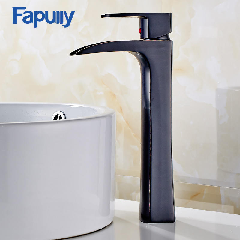 Fapully Bathroom Waterfall Faucet Brushed Nickel Single Handle Basin Tap Water Mixer