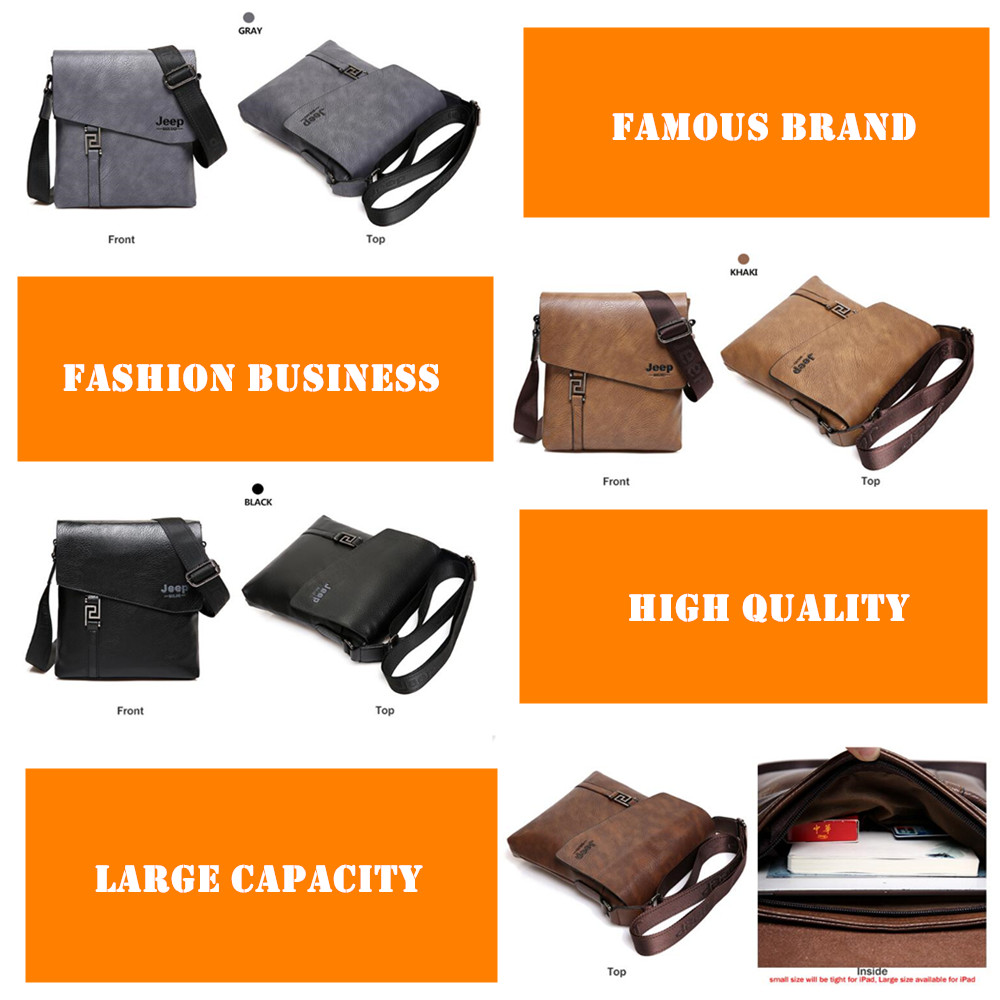 Image 5 - JEEP BULUO Fashion Men Bags Waterproof Cow Split Leather Messenger Bag Business Briefcase Crossbody Bags Male Shoulder Bag 5846