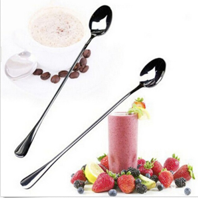 2 pcs Long Handle Stainless Steel Tea Coffee Spoons Ice Cream Cutlery New