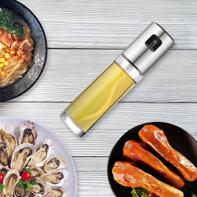 New Leak proof Drops Oil Dispenser Stainless Steel Olive Vinegar Sprayer Oil Spray Bottle Pot Seasoning Kettle BBQ Kitchen Tool in Gravy Boats from Home Garden