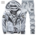 Winter Wool Tracksuit Men's Sportswear Hoodies Men Casual Sweatshirt Male Brand Sportswear Man Leisure Outwear Tracksuit Sets