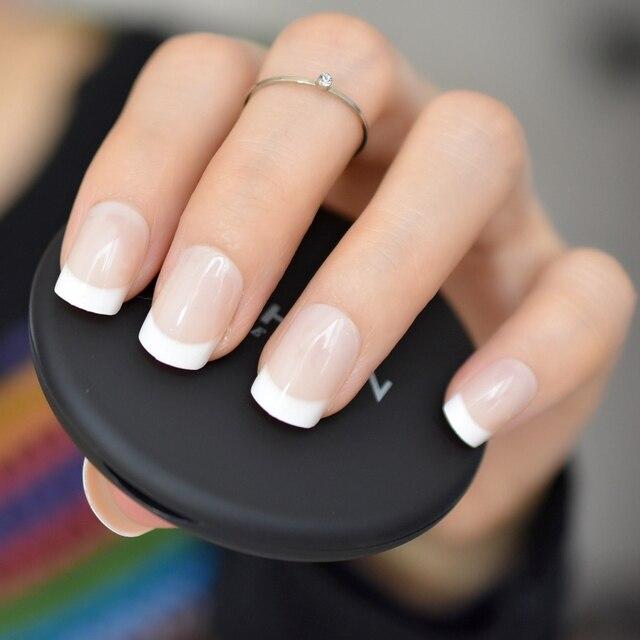 עירום טבעי לבן צרפתית ציפורניים מלאכותיות טיפים אקריליק UV ציפורני שווא לחץ על DIY מניקור סלון מדבקות ציפורניים מלאכותיות טיפ