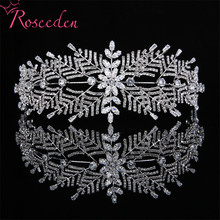 Classic Full CZ Zircon Bridal Wedding Tiaras Headbands For Women Dinner Party Sliver Wedding Hair Jewelry Accessories RE3418