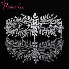 Klasik Tam CZ Zirkon Gelin Düğün Tiaras saç Bantları Kadınlar Için Akşam Yemeği Parti Gümüş Düğün Saç Takı Aksesuarları RE3418