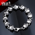 Cool Man's Skull Chain Bracelet Stainless Steel Man's High Quality Fashion Skeleton Jewelry US EURO Hot Gift BC8-022