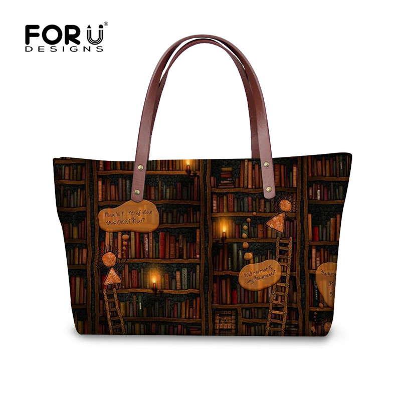 FORUDESIGNS Retro Vintage Women Totes Cross-body Bags Cute Book Shelf Sleepy Kitty Cat Printing Handbags for Ladies Bolsos Mujer