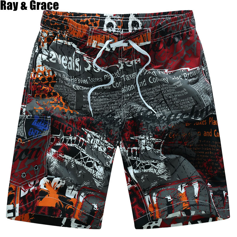 RAY GRACE Quick Dry Men's Beach Shorts Summer Surfing Man Swimming Board Shorts Breathable Athletic Sport Running Shorts