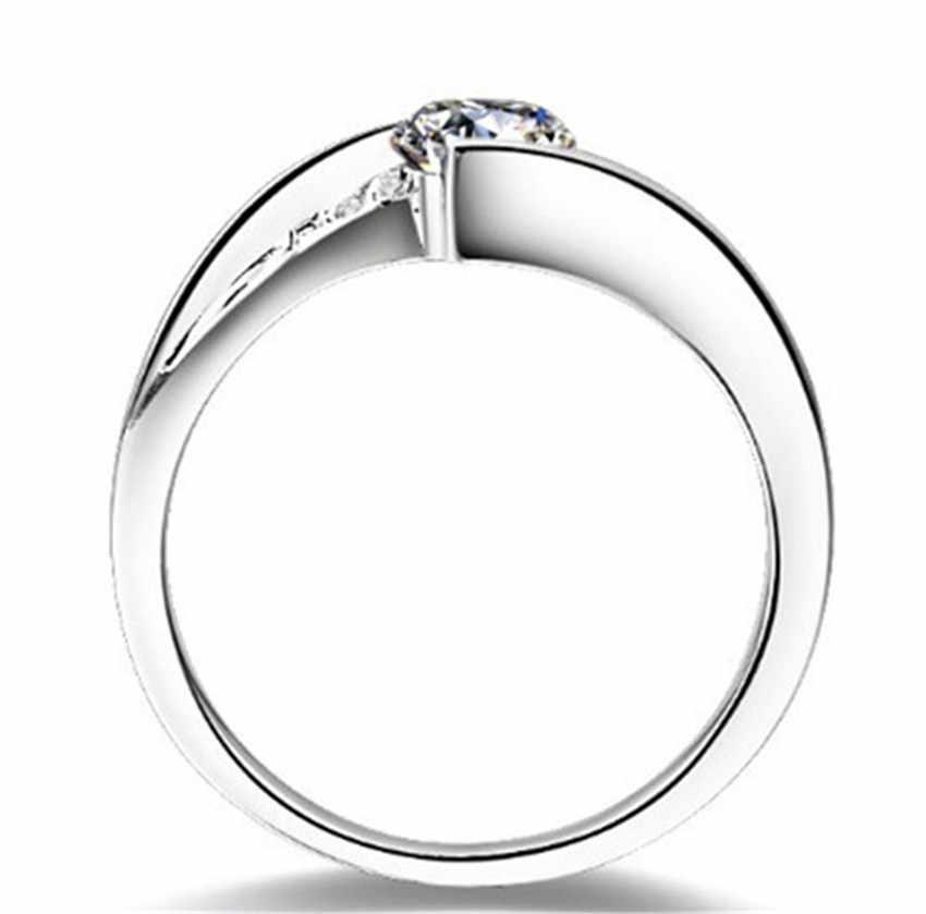 0.6Ct с подлинным муассанитом обручальное кольцо из стерлингового серебра 925 пробы, обернутое в белое золото цвет свадебные украшения