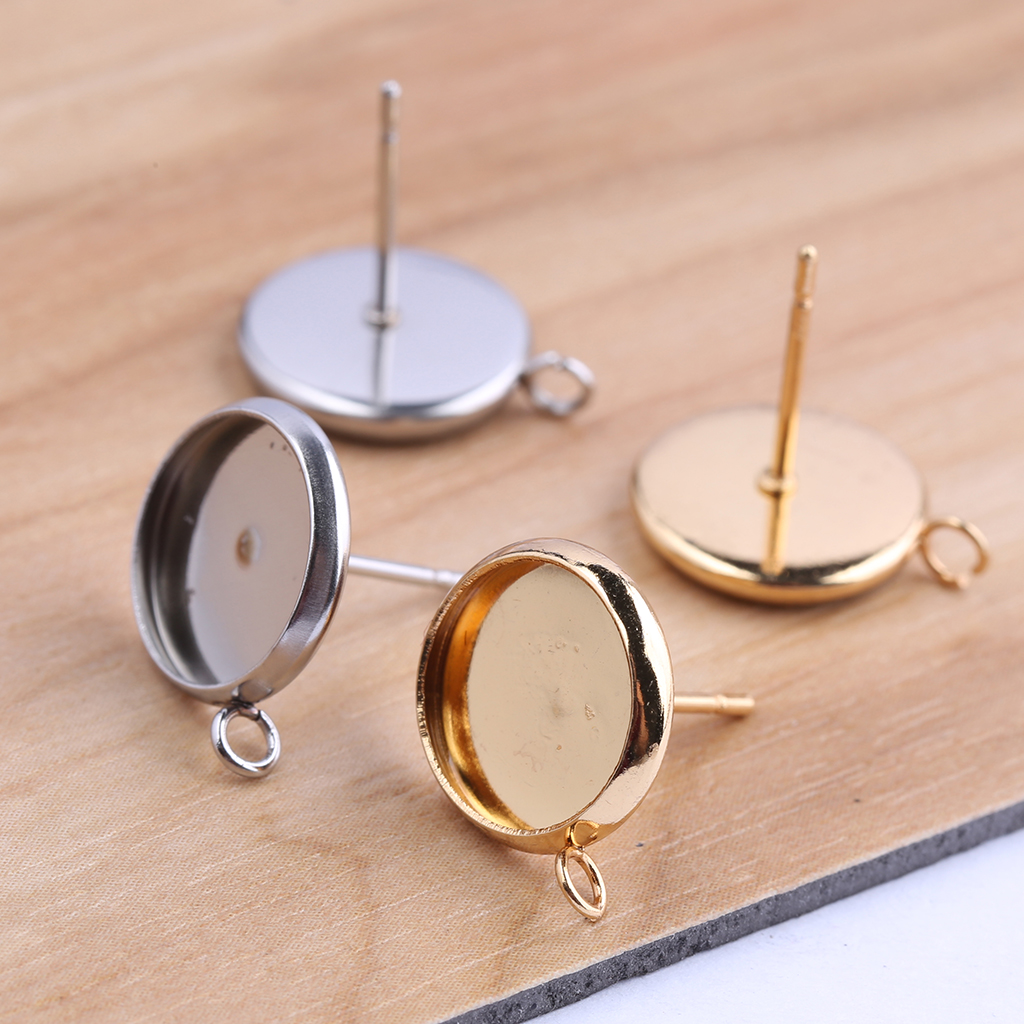 5Pairs Earring Base Bezels Gold Plated Stainless Steel 12mm DIY Jewelry Findings